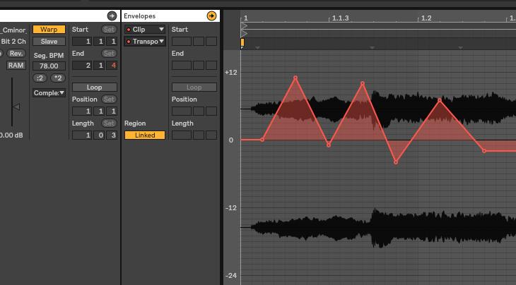 Ableton Liveでオーディオクリップにトランスポーズのオートメーションを書く方法